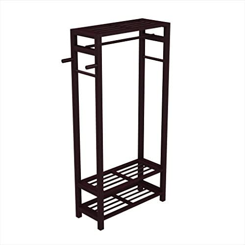 Stony-Edge Wood Coat Shoe Garment Rack and Hat Stand for Hallway or Front Door Entryway – Free-Standing Clothing Rail Hanger – Easy to Assemble – Espresso