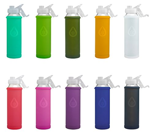 Eveau Glass Water Bottle with Flip Lid/Straw Lid, Bumperguard Silicone Sleeve, Wide Mouth Opening, 21 Ounce/630 ml