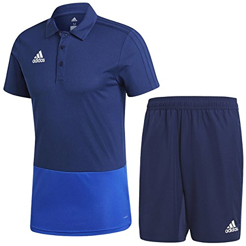 好きオン整然としたアディダス(adidas) CONDIVO18 ポロシャツ & ウーブンショーツ上下セット(ダークブルー/ダークブルー) DJV22-CF3702-DJV27-CV8251