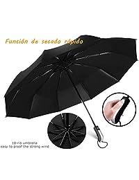 Paraguas Plegable 118cm 10 Ribs 210T Nano Material Doble Resistente al Viento Abrir y Cerrar automático Diseño Ligero portátil Plegable Compacto Mujer y Hombre