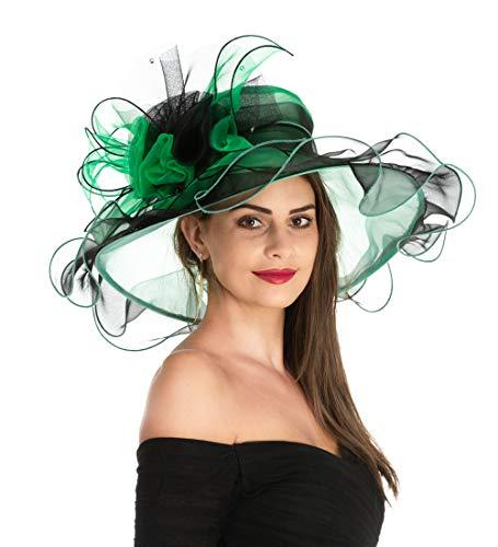 - Women's Organza Church Kentucky Derby British Fascinator Bridal Tea Party Wedding Hat Summer Ruffles Cap Detachable as Fascinator(F1-Black Green Flower)