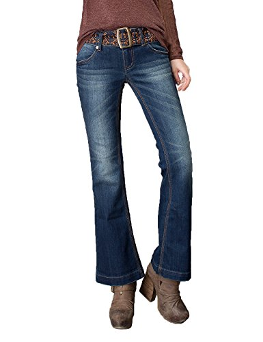Artka Women's Mid Rise Stretch Slim Fit Petite Flared Jeans Dark Blue Denim Pants with Embroidered Belt