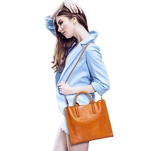 Bag Brown Genuine Crossbody Satchel Top Women Handle S Shoulder ZONE Leather 7n4wZUAxqz