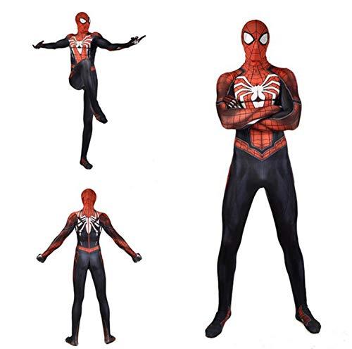 (White Set Miles Morales Spiderman Costume,Superhero PS4 Bodysuit Adult Cosplay)