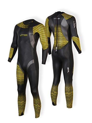 UTTER Dorado Men Fullsleeve Smoothskin Neoprene Triathlon Tri-Suit Full Suit Diving Suit (Yellow, SM) (Blueseventy Wetsuits Core)