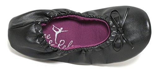 Damen Ballerina Yoga Schuhe Gymnastikschuhe Hauschuhe Puschen Bequemschuhe im Beutel schwarz faltbar