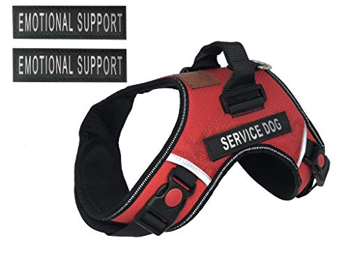 ALBCORP Service Dog Vest Harness - Reflective - Woven Nylon, Neoprene Handle, Adjustable Straps, with Comfy Mesh Padding, and 2 Hook and Loop Removable Patches, Small, Red