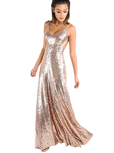 MAKEMECHIC Women's Sexy V Neck Backless Evening Gowns Sequin Maxi Cocktail Prom Dress Gold M (Slim Prom Gown)