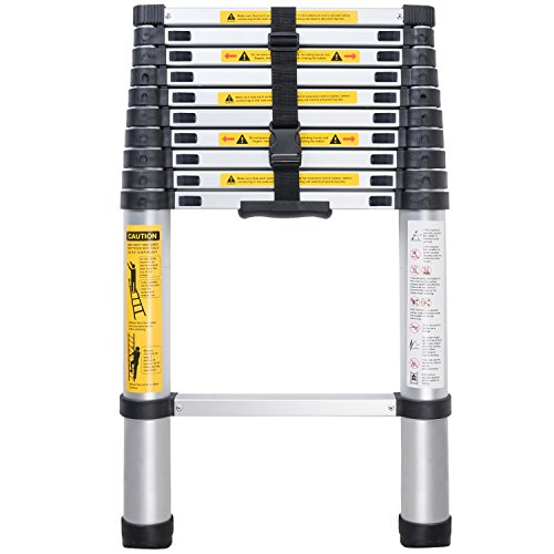 Xaestival EN131 10.5ft Telescoping Ladder Aluminum Telescopic Extension Tall Multi Purpose