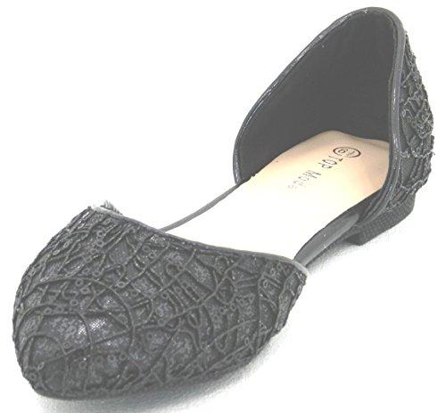 Womens Black Silver Gold New Fashion Lace Mesh Evening Party Wear Pumps Flat Shoes Black frj9U0