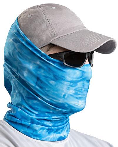 Aqua Design Neck Gaiter: Camo UPF 50+ Sun Protection Tube Half Mask for Men: Royal Ripple: Size Large