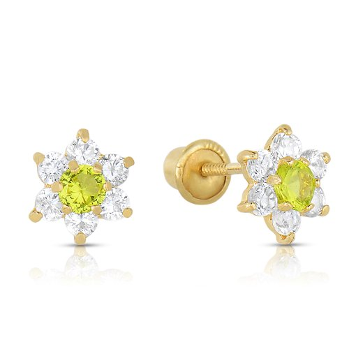 - Girls 14k Gold Small Flower Stud Earrings with Cubic Zirconia and Screw Backings (August)