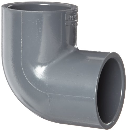 Spears 806 Series PVC Pipe Fitting, 90 Degree Elbow, Schedule 80, 1 Socket