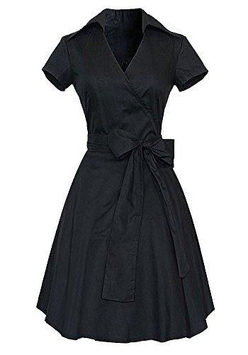 Women's Solid Color V-neck Waist A-line Swing Dress