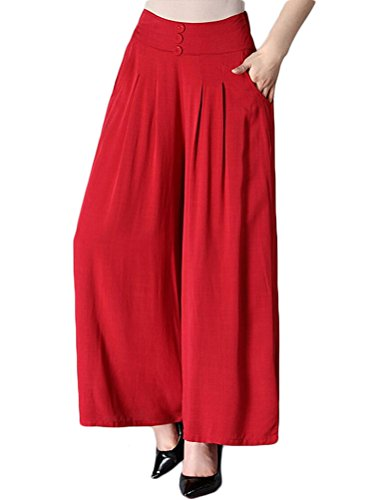 Pleated Womens Slacks - Soojun Women's Summer Lightweight Pleated Palazzo Pants, Red, Medium