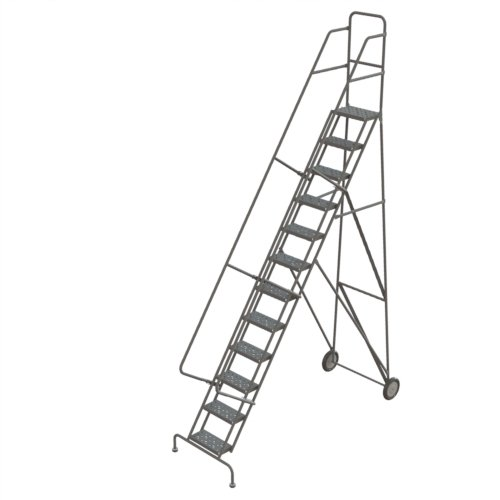 Tri-Arc KDRF112166 12-Step All-Terrain Roll and Fold Steel Industrial & Warehouse Ladder with Perforated Tread