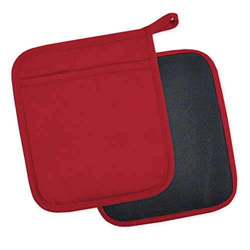 "DII Cotton and Neoprene Pot Holders , 7 x 8"" Set of 2, 425°F Heat Resistant and  Machine Washable for Kitchen Cooking and Baking-Tango Red"