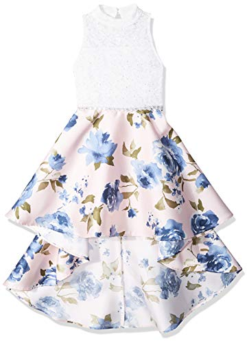Speechless Girls' Big Party Dress with Dramatic High-Low Hemline, Blush Denim Floral, 7 -