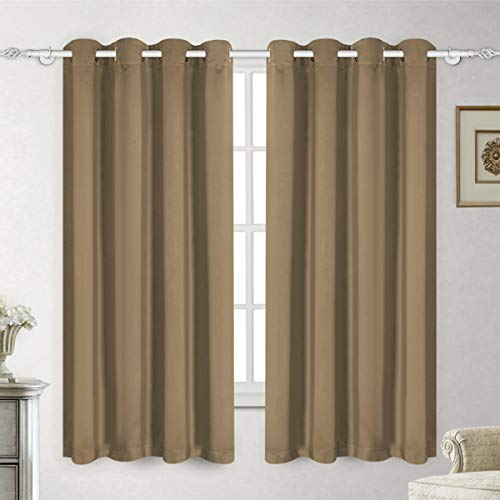 LUXUER Blackout Curtain Panel Set Light Coffee Thermal Insulated Grommet Darkening Drapes for Room (2 Panels, 52x84 -Inch, ()