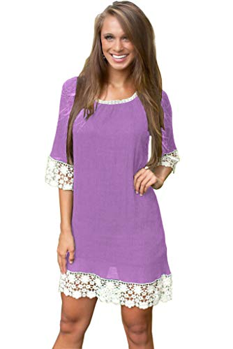 (Summer Tunics for Women Short Sleeve Plus Size Round Neck Lace Casual Loose T-Shirt Dress Tunic Blouse Top Cover Up Purple)