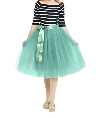 Women's High Waist Princess A Line Midi/Knee Length Tulle Skirt Pleated for Prom Party (Free Size, Green)]()