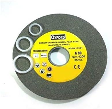 Aluminiumoxid-Scheibe, Körnung 80, für Schleifbock, Typ Flach 150 mm