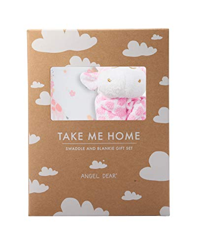 (Angel Dear Swaddle and Blankie Gift Set, Floral Giraffe with Pink Giraffe )