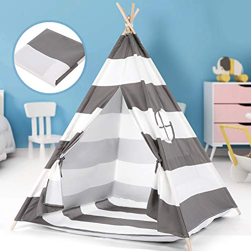 Peradix Kids Teepee Tent with Floor Mat and Carry Case- Foldable & Portable Wigwam Tipi Play Tent for Indoor Outdoor Garden, White-Grey Canvas Teepee Indian Tent Playhouse For Children