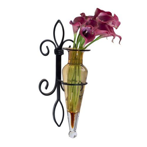 Danya B. A043-A Fleur de Lis Home Decor - Iron and Glass Wall Mount Flower Vase Sconce - - Fleurs Vase De
