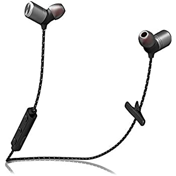 Bluetooth Headphones, Lekesn Wireless 4.1 Textile Cable IPX7 Waterproof Sports Headset for Running Workout Gym, Magnetic Sweatproof Noise Cancelling Earbuds ...
