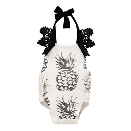 MIOIM Newborn Baby Girl Lace Crochet Fruit Pinapple Printed Onesie Romper (Baby Clothes Catalog)