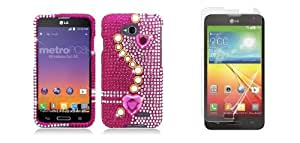 LG Pulse (Virgin Mobile) - White Pearls and Pink Hearts Diamond Bling Case Cover + ATOM LED Keychain Light + Screen Protector