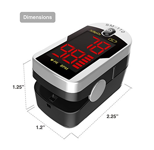Deluxe-SM-110-Two-Way-Display-Finger-Pulse-Oximeter-with-Carry-Case-and-NeckWrist-Cord