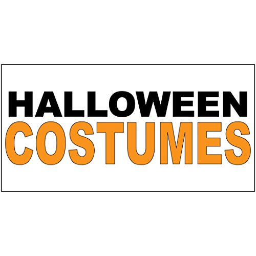 Halloween Costumes Black Yellow DECAL STICKER Retail Store Sign Sticks to Any Surface ()