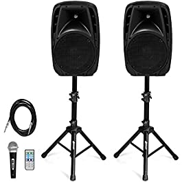 Costzon Portable 1800W 2-Way Powered PA Speaker System, Professional DJ Speakers with Active + Passive Loud Set, 2…
