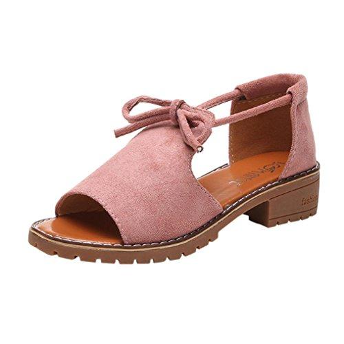 Mujer Sandalias De Abierta Romano Pink De Calzado De Antideslizante Sandalias Cuña ALIKEEY Casual Tie Punta Verano Sandalias Cómodo wfxfzq4