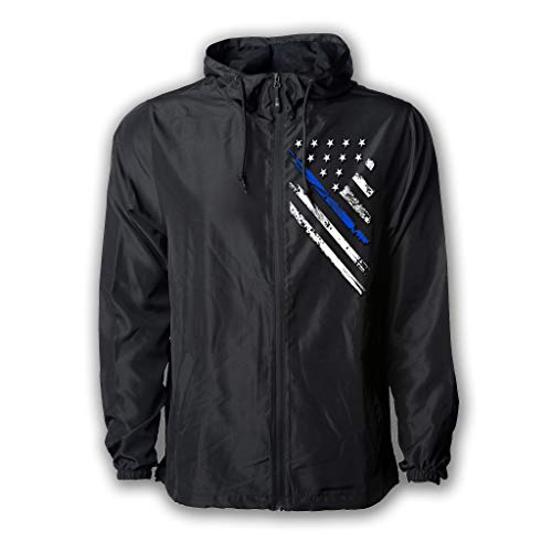 (Tactical Pro Supply USA Windbreaker Jacket for Men or Women, American Flag Patriotic Hoodie Zip Up (Large, Blue Line Crest))