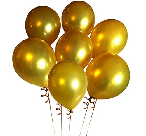 Platinum Balloon - Elecrainbow 100 Pack 12 Inch 3.2 g/pc Thicken Round Metallic Pearlescent Latex Gold Balloons for Party Supplies and Decorations, Shining Gold