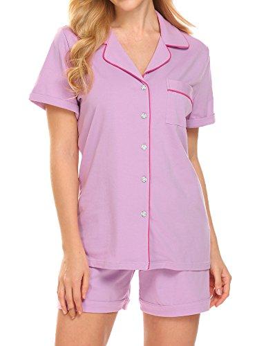 Ekouaer Sleep Set Women's Cotton Pajamas Short Sleeve Loungewear Set (Purple,S) (Jersey Striped Shorts)
