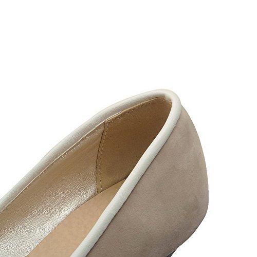 AllhqFashion Damen Mittler Absatz Rein Ziehen auf Spitz Zehe Pumps Schuhe Aprikosen Farbe