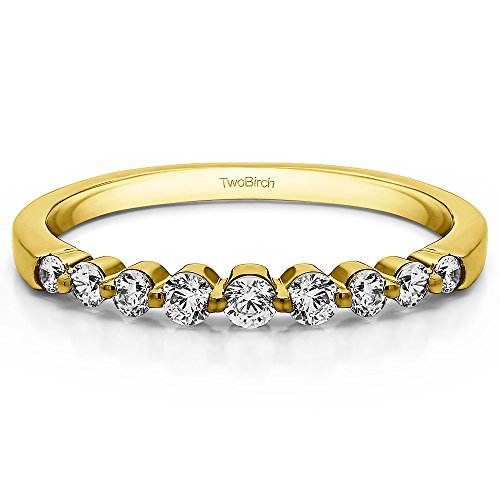 10k Yellow gold Wedding Band Charles Colvard Created Moissanite(.33Ct)Size 3 To 15 in 1/4 Size (0.33 Ct Bezel)