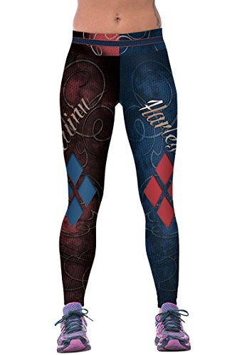 COCOLEGGINGS Ladies Color Block Stretch Leggings Baseball Football Training Pants One Size -