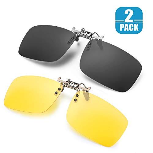 ELIVWR 2 PACK Unisex Polarized Clip-on Sunglasses over Prescription Glasses, Flip Up Rimless lens for Driving Fishing
