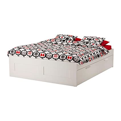 Amazon.com: IKEA Full size Bed frame with storage, white 143838.2829 ...