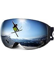 LEMEGO Gafas de Esquí, Gafas de Snowboard Sin Marco magnético Intercambiable 100% UV400 Protección Doble Capa Lente Correa Antideslizante Casco Compatible para Hombres y Mujeres Jóvenes