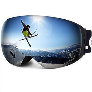 LEMEGO Masque de Ski Mangétique Anti-Buée Protection UV400, Lunettes de Ski Snowboard Double Ecran Sphérique avec Sangle Détachable Compatible Casque pour Homme Femme Adulte – VLT 14,2%