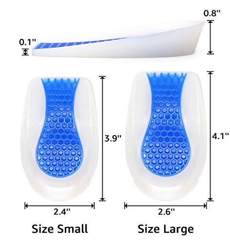 Beautulip Silicone Heel Cushion Gel Heel Cup with Massaging Leg Length Discrepancy Shock Absorb Ankle Pain Sever's Disease Relieve (Large - Women's 8.5-12 / Men's 7.5-11)
