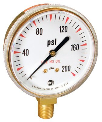 - 2 in Welding/Compressed Gas Gauge, 100 psi, Polished Brass, 1/4-18 NPT LM (14 Pack)