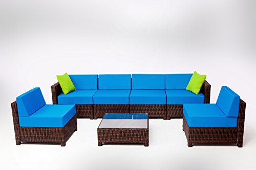 MCombo 7 Piece 6081 New Brown Wicker Patio Sectional Indoor Outdoor Sofa Furniture Set with Dark Blue Cushion (Indoor Wicker Sectional)