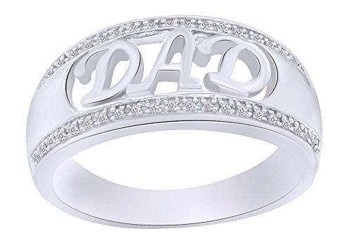 (Round Cut Real Diamond DAD Ring 14K White Gold Over Sterling Silver (1/10 Cttw) For Daddy Gift )